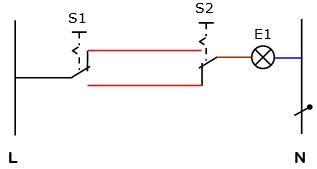 kreuzschaltung mit 2 lampen zusammenhängende darstellung